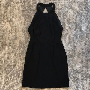 Black Backless BCBG Cocktail Dress w/ Fox Buttons